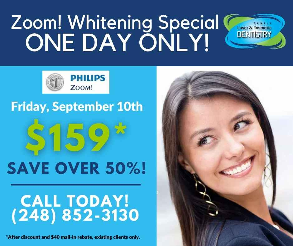 zoom! teeth whitening event, healthy smile, family dentist, zoom teeth whitening